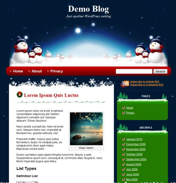 Blue Christmas WordPress Theme