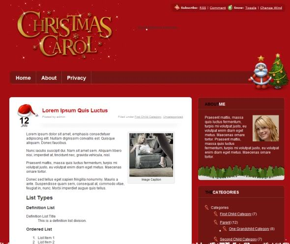 Christmas Carol WordPress Theme