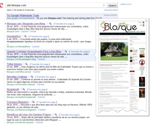 Blosque - Google Instant Preview